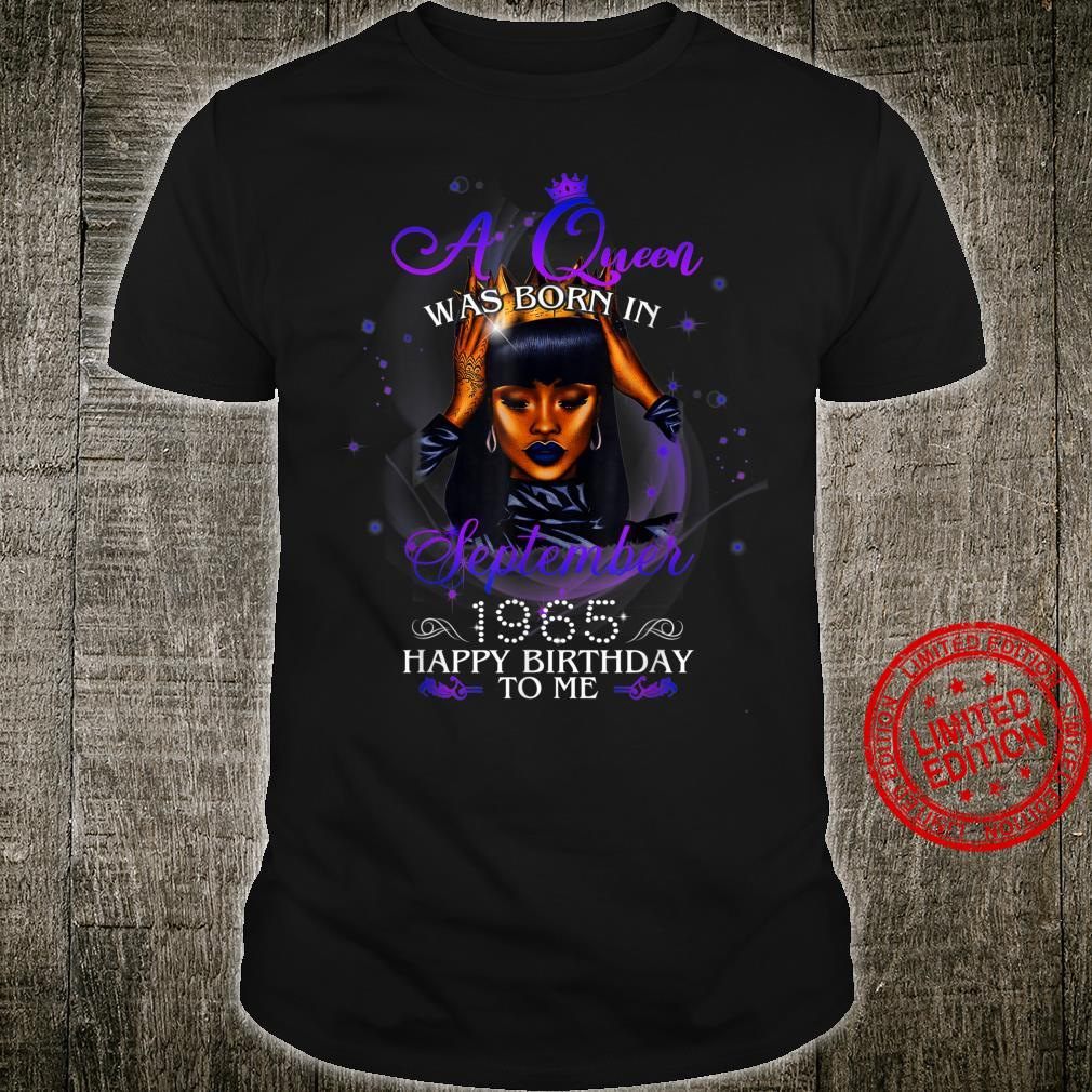 A Queen Was Born In September 1965 Happy Birthday Black Girl Shirt