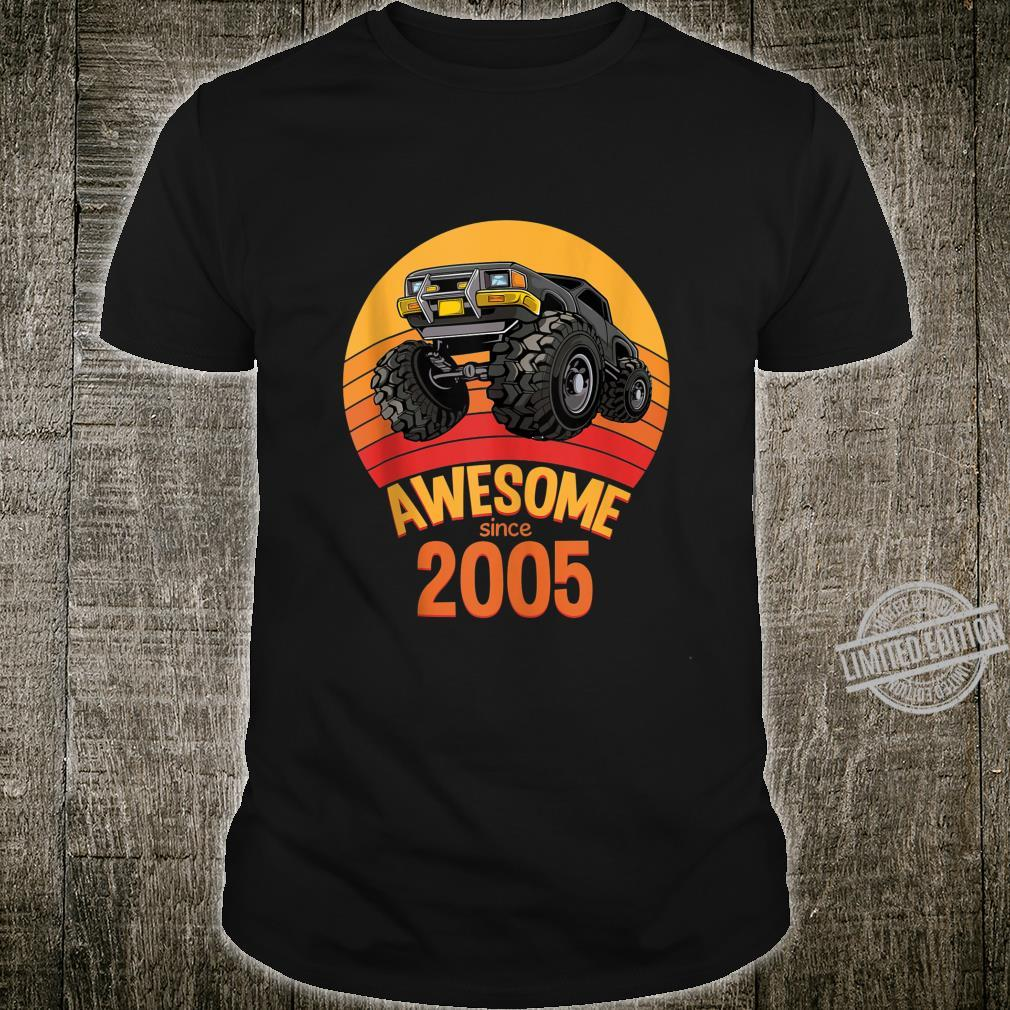 Awesome Since 2005 Birthday Boy 15 Years Old Monster Truck Shirt