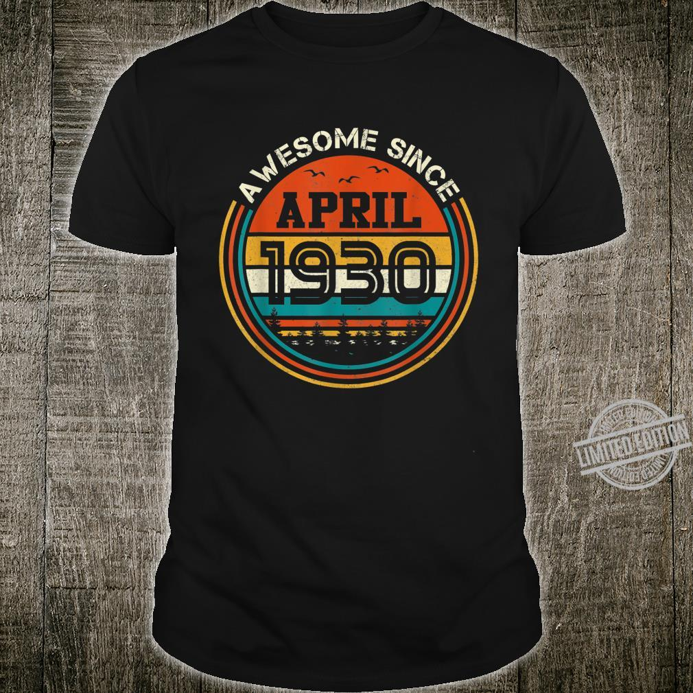 Awesome Since April 1930 90 Years Old Birthday Shirt