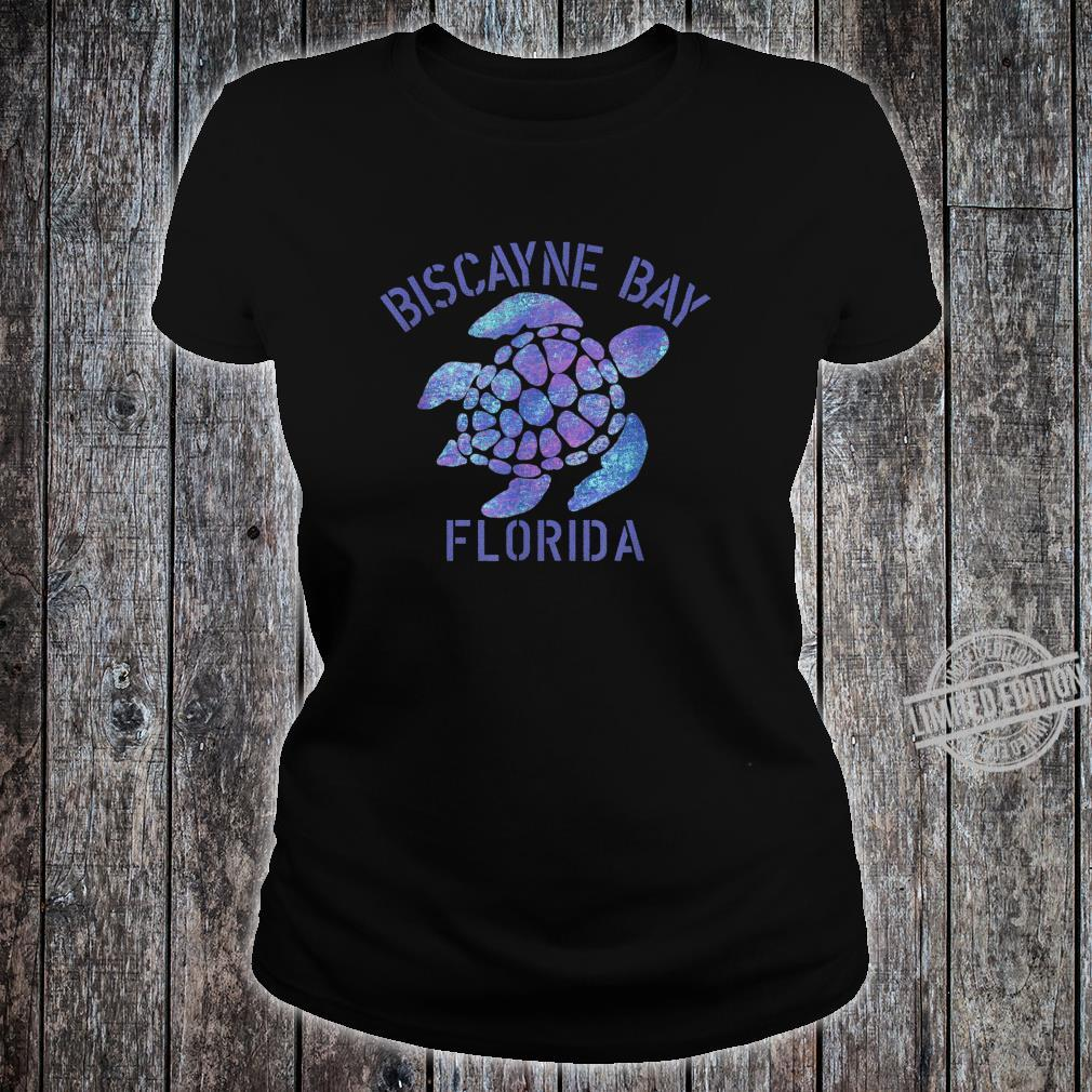 Biscayne Bay, FL Beach Design Tribal Turtle Shirt ladies tee