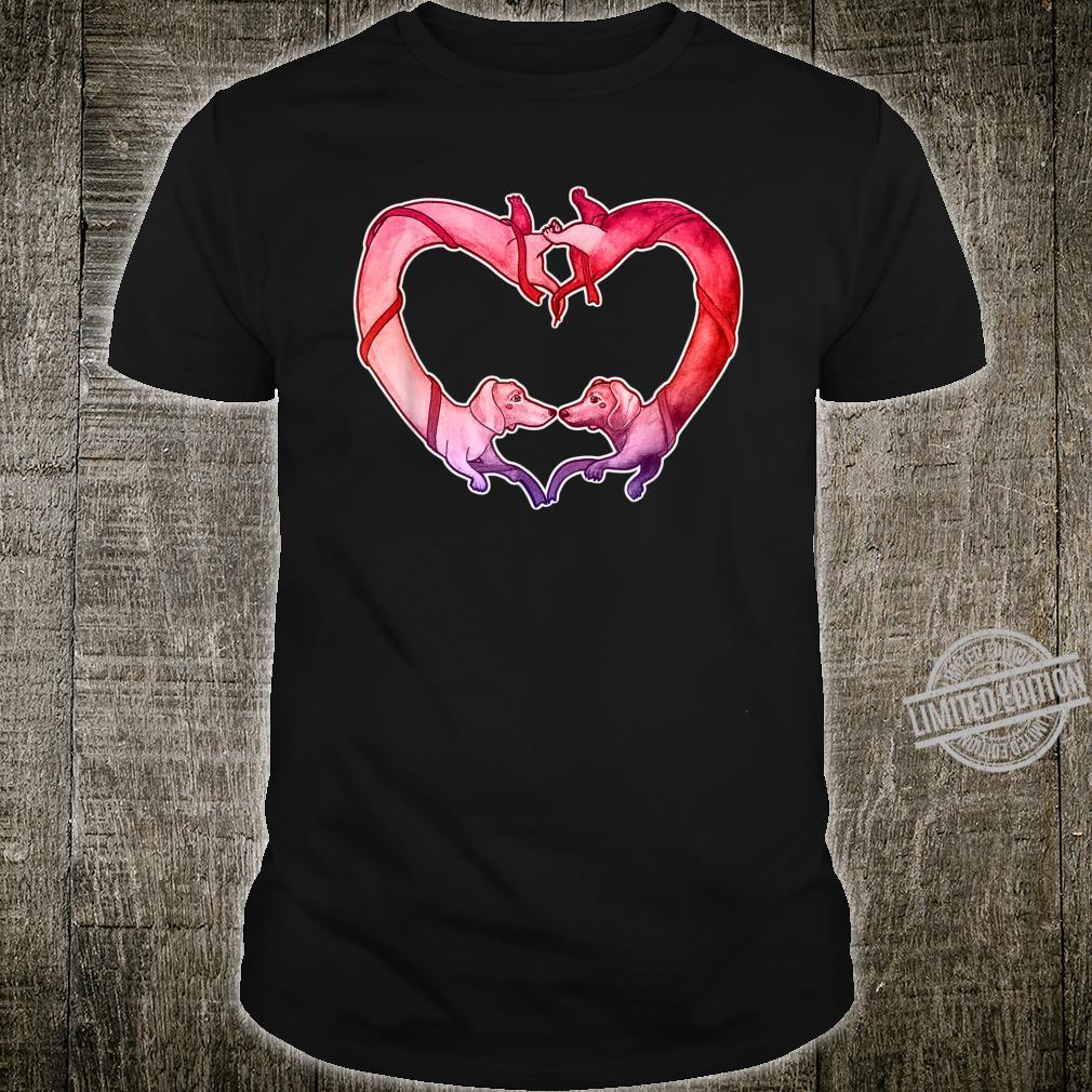 Cute Sausage Dog Valentine's Day Drawing Dachshund Shirt