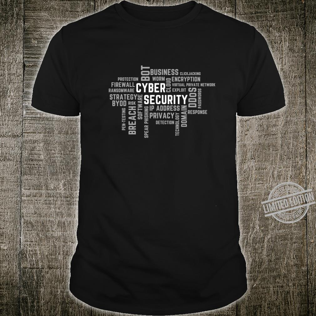 Cyber Security Word Cloud Grey for IT Professionals Shirt