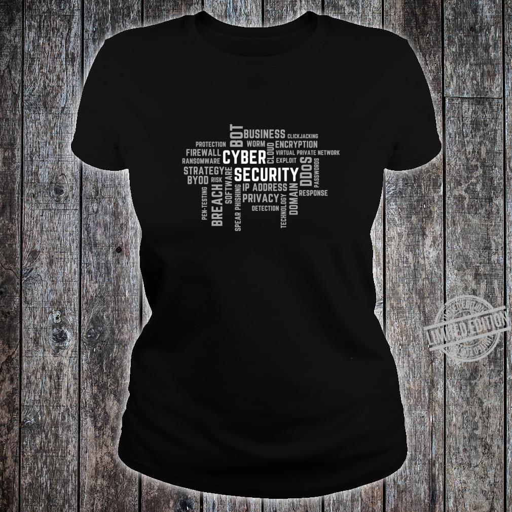 Cyber Security Word Cloud Grey for IT Professionals Shirt ladies tee