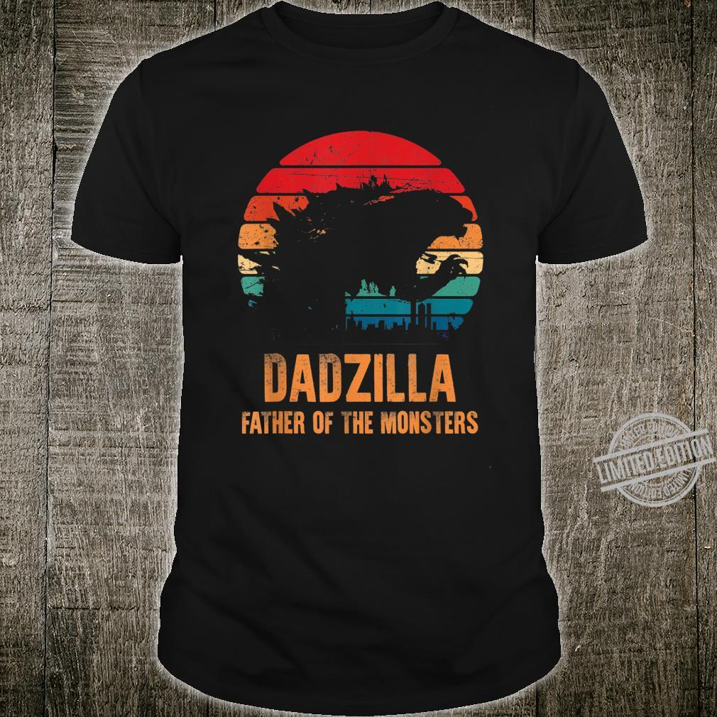 Dadzilla Father Of The Monsters Retro Vintage Sunset Daddy Shirt