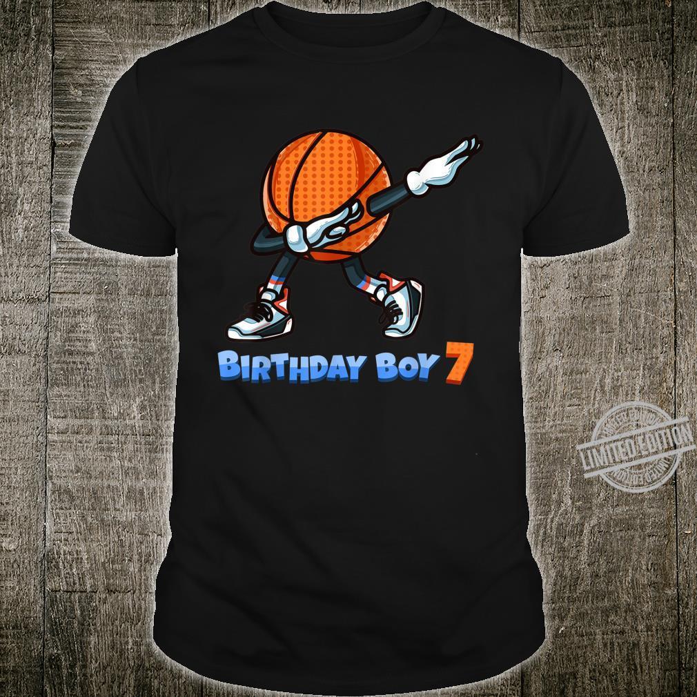 Funny Dabbing Basketball Ball 7th Birthday Boy 7 Years Old Shirt