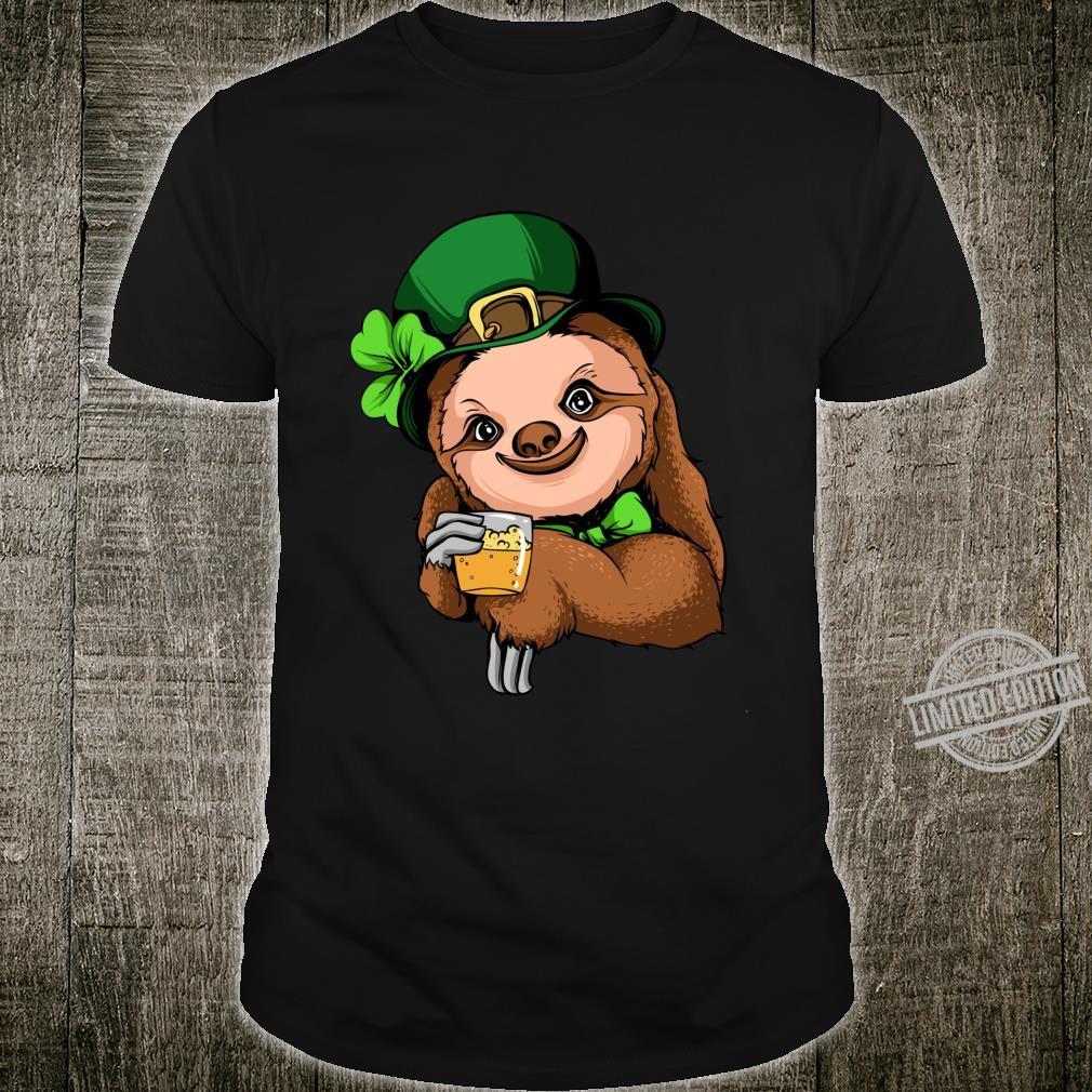 Funny St Patricks Day Shirt Leprechaun Sloth Beer Drinking Shirt