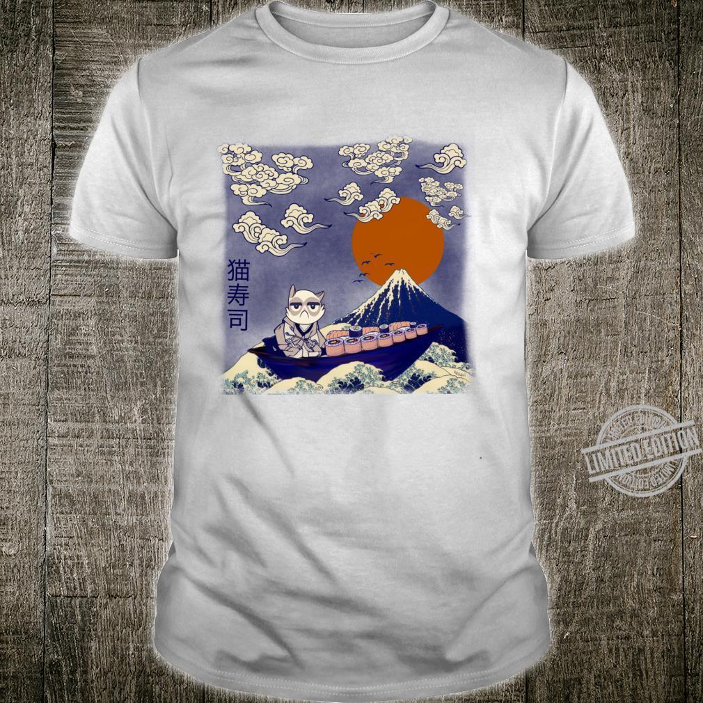 Katsushi Cat Sushi und die große Welle Langarmshirt Shirt
