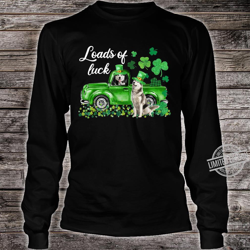 Loads Of Luck Husky Driving Green Truck St Patrick's Day Shirt long sleeved