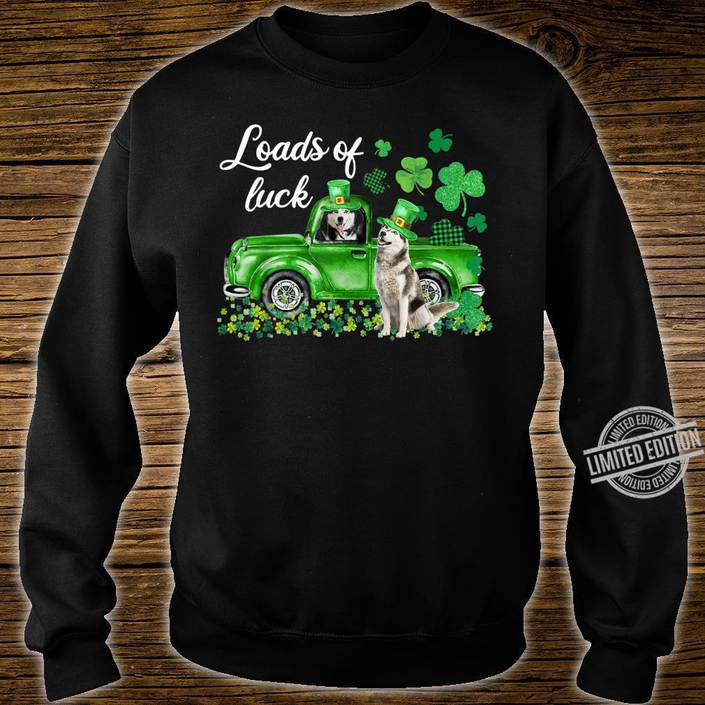 Loads Of Luck Husky Driving Green Truck St Patrick's Day Shirt sweater