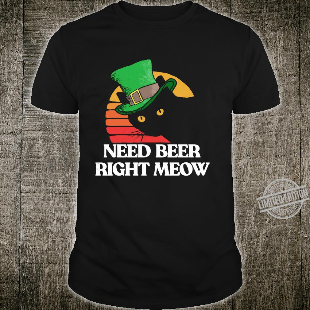 Need Beer Right Meow Happy St Patricks Day 80's Cat Shirt