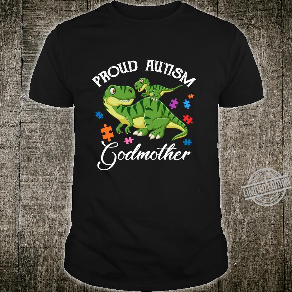 Proud Autism Godmother Dinosaur Autism Awareness Month Shirt