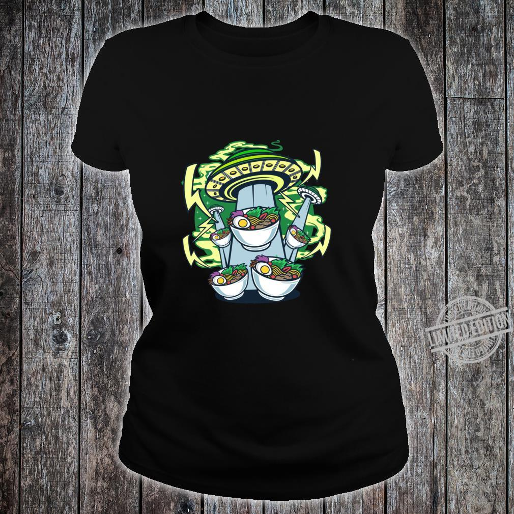 Ramen Noodle Bowl Abducted by Alien UFO Racerback Shirt ladies tee
