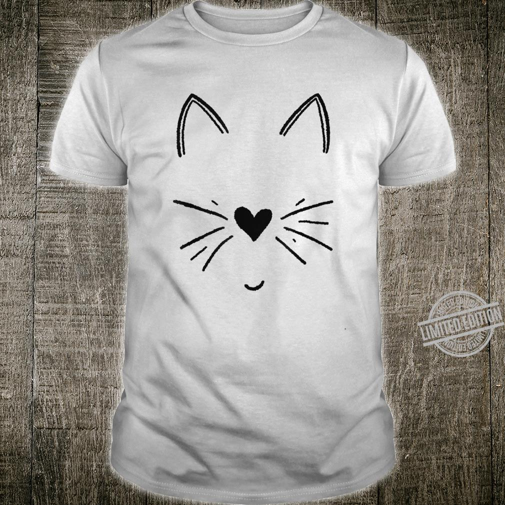 Süßes Katzengesicht mit Herz Shirt