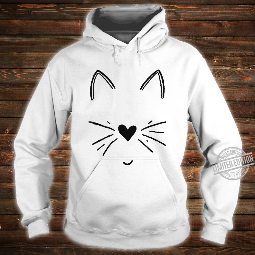 Süßes Katzengesicht mit Herz Shirt hoodie