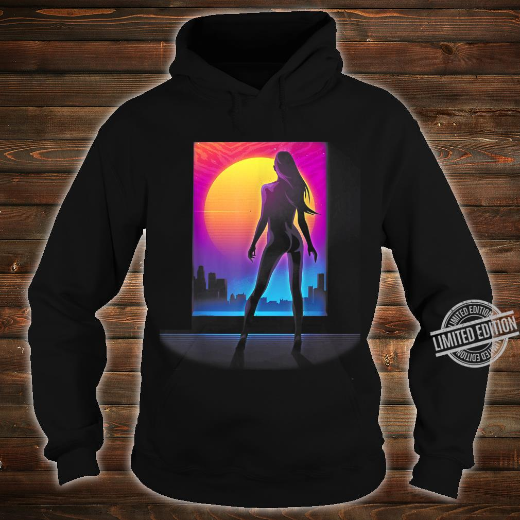 Sexy Girl 80s Silhouette Retro Wave Cyper Punk Sunset Laser Shirt hoodie