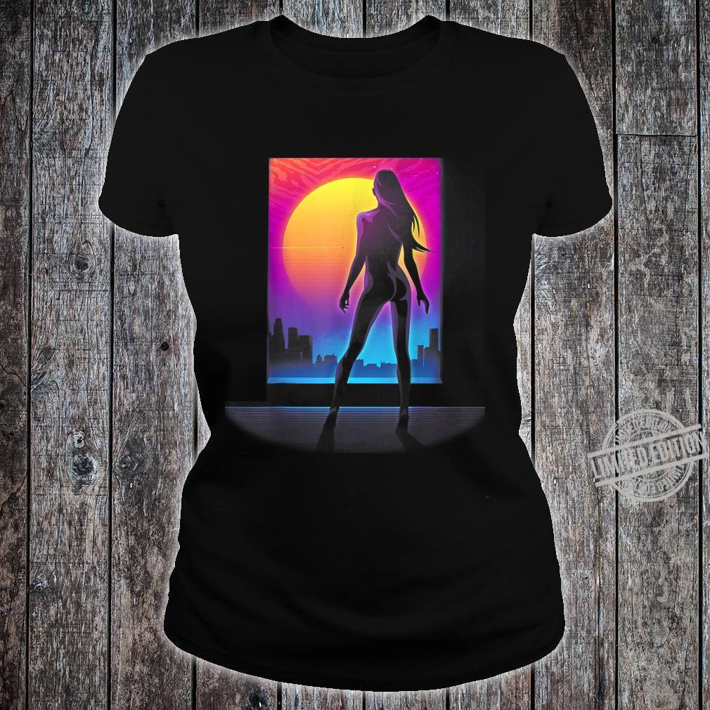 Sexy Girl 80s Silhouette Retro Wave Cyper Punk Sunset Laser Shirt ladies tee