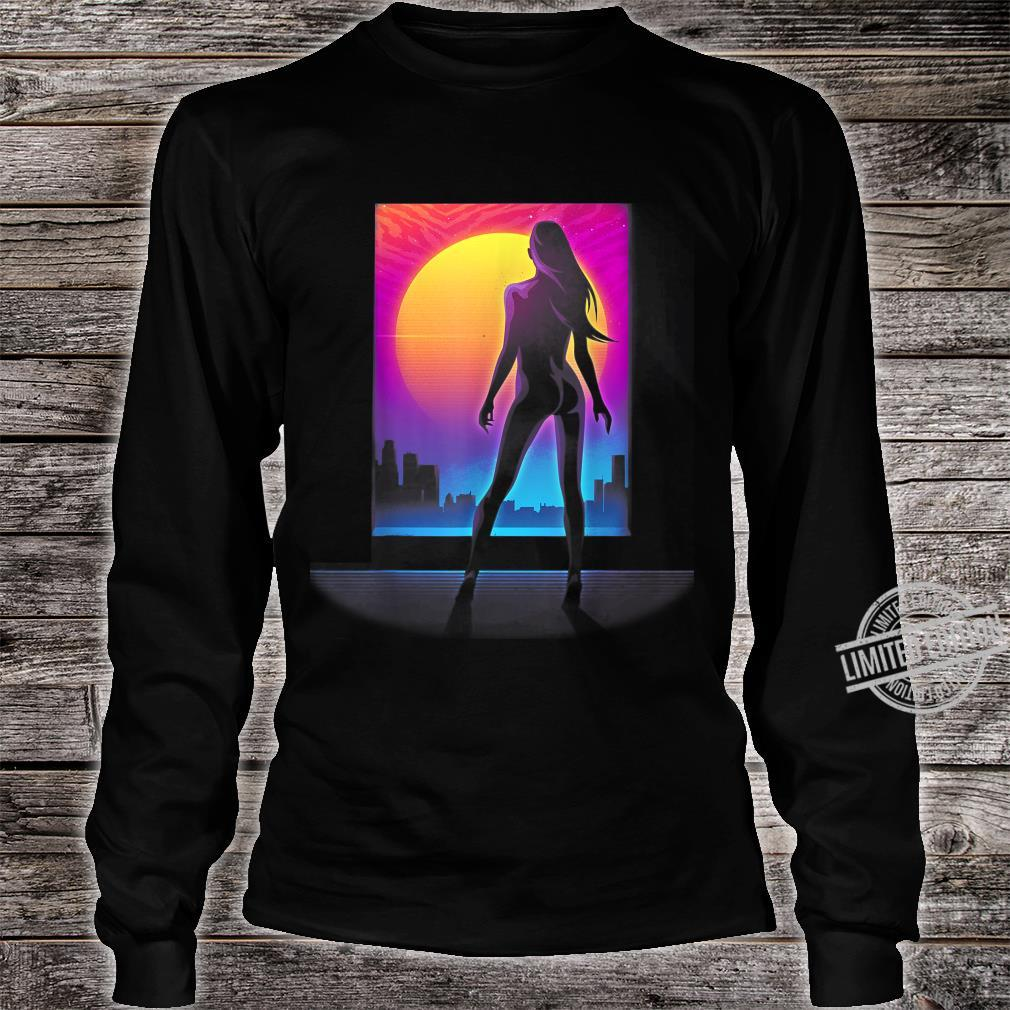 Sexy Girl 80s Silhouette Retro Wave Cyper Punk Sunset Laser Shirt long sleeved