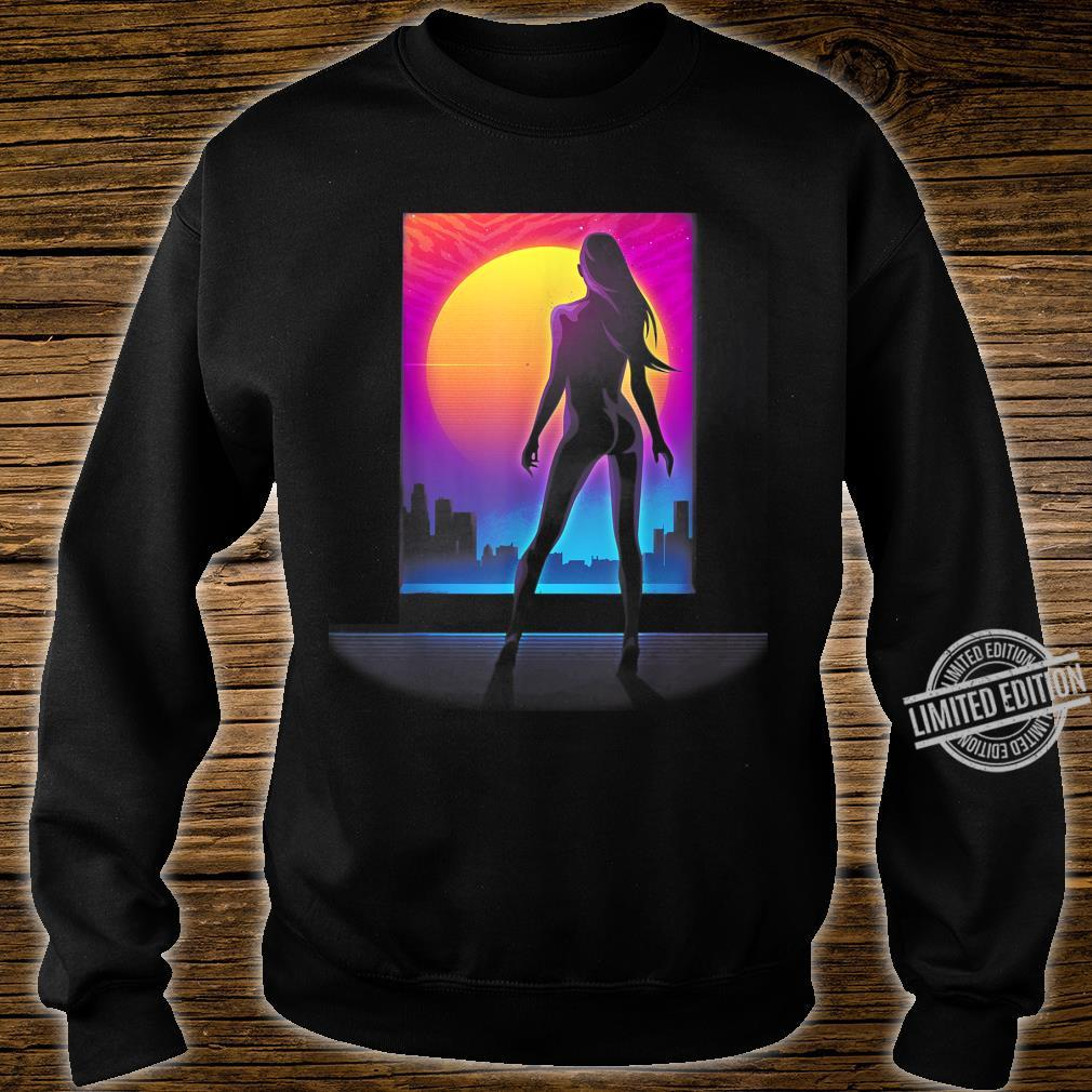 Sexy Girl 80s Silhouette Retro Wave Cyper Punk Sunset Laser Shirt sweater