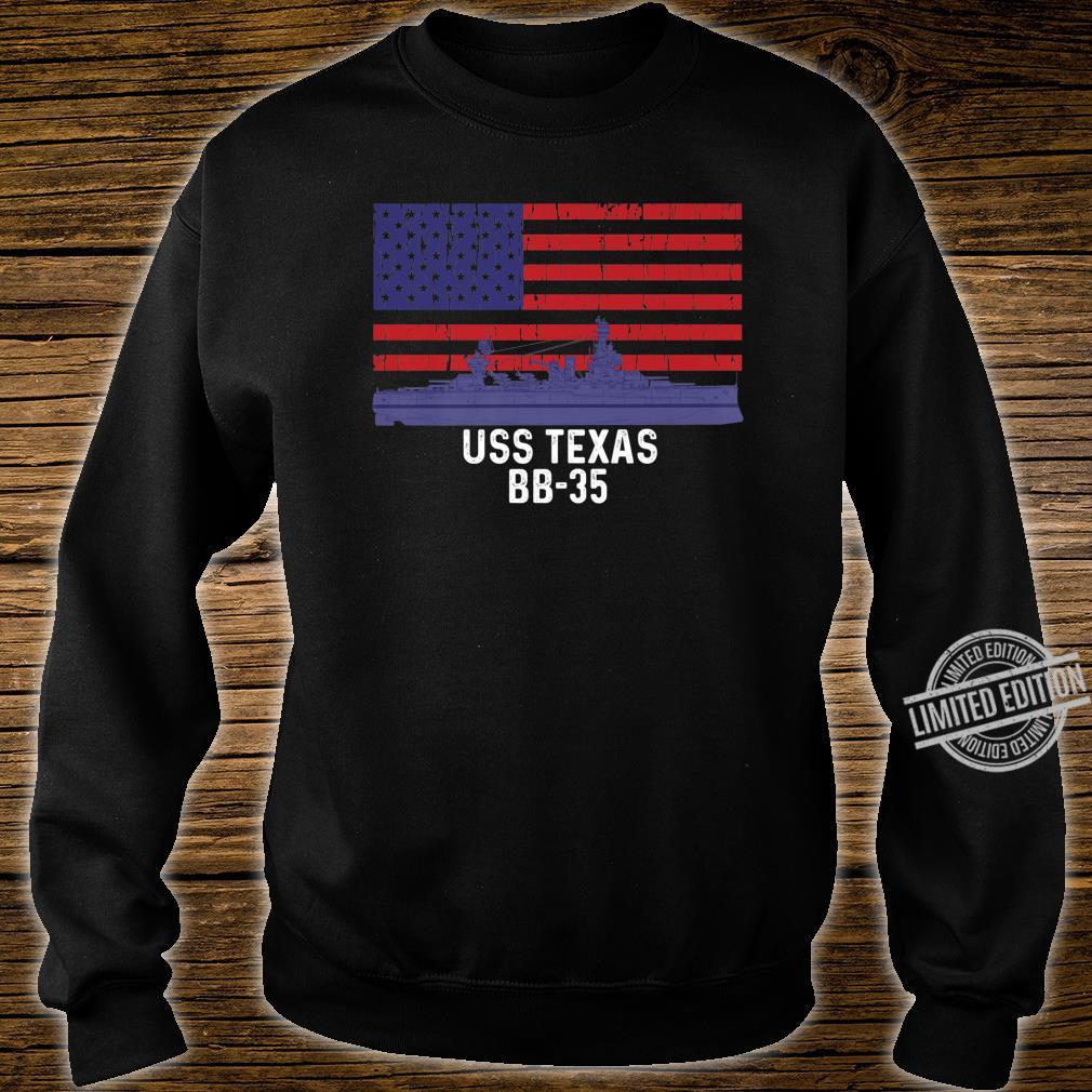 USS Texas BB35 Battleship Vintage American Flag Shirt sweater