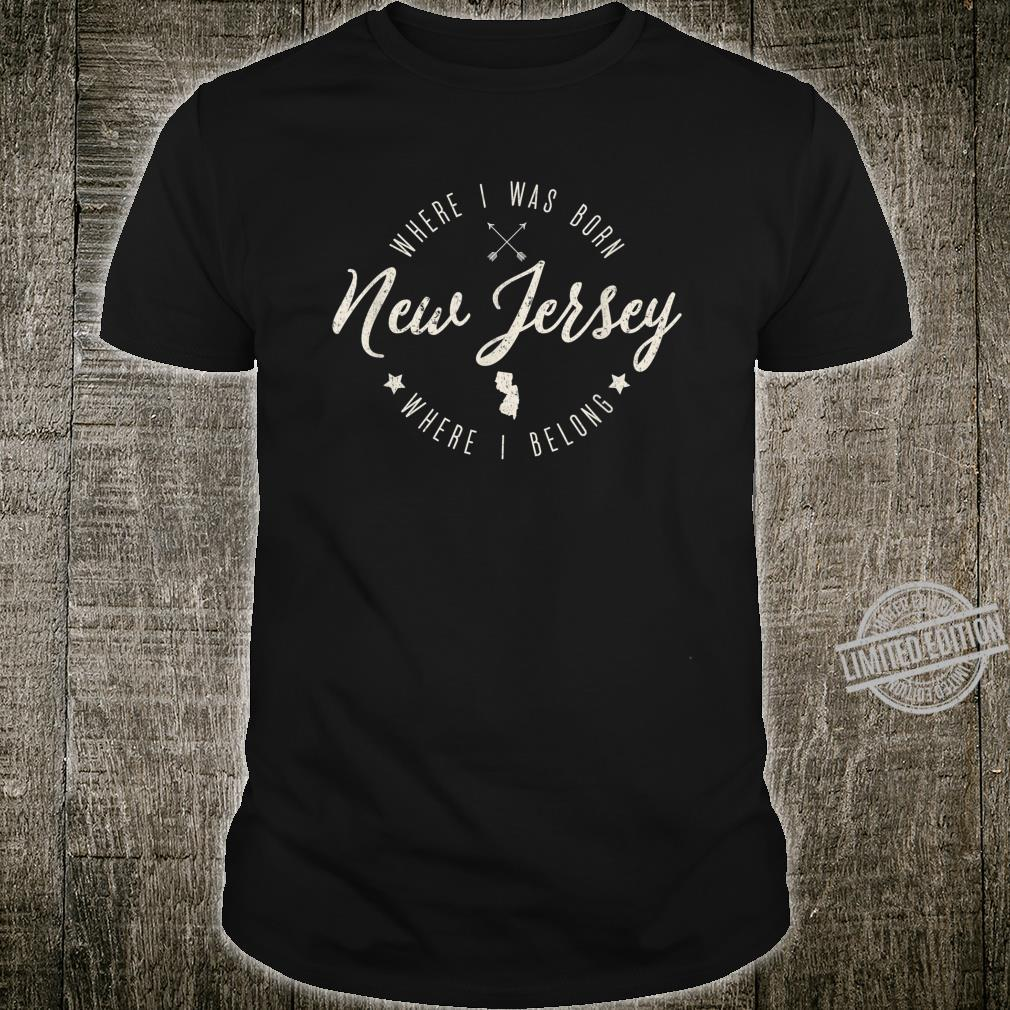 Vintage New Jersey Home State Map, Born Belong, Roots Shirt
