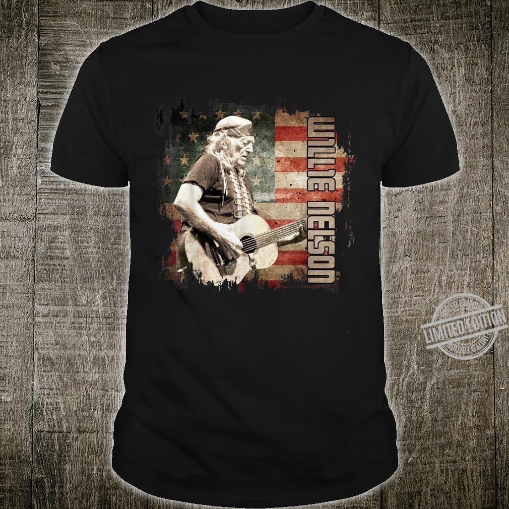 Vintage Willie Nelson Country Music Flag America Us Shirt