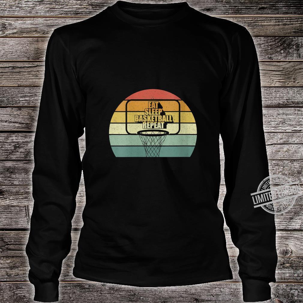 Womens Vintage Retro Eat sleep Basketball Fan Coach Basketball Shirt long sleeved